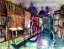 Kanal, Lagune, Boot, Aquarellmalerei