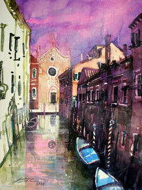 Botte, Venedig, Chiesa, Zeitgenössisches aquarell