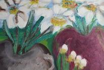 Topf, Vase, Blumen, Weiße blüten