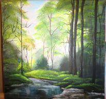 Adryl wald lichtung, Malerei,