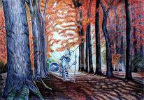 Herbstwald, Studie, Don quijote, Ölbild gefunden