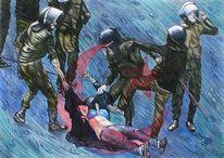 Studie zum ölbild, The blue bra, Gewalt, 2011 in kairo