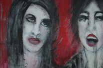 Piercing, Lippenstift, Rot, Frau