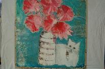 Weiß, Blumen, Katze, Malerei