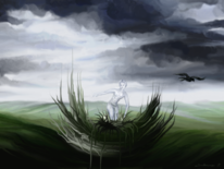 Wolken, Landschaft, Junge, Vogel