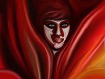 Fantasie, Illusion, Maske, Rot