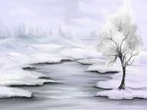 Wasser, Weiß, Schnee, Landschaft