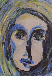 Traurig, Skizze, Blau, Gesicht