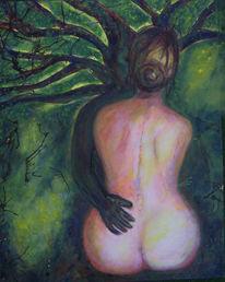 Baum, Ölmalerei, Rücken, Dunkel