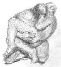 Paar umarmung, Zeichnungen