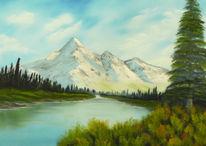 See, Bergsee, Gemälde, Wald