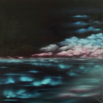 Landschaft, Meer, Nebel, Ölmalerei