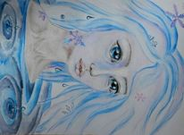 Frau, Wasser, Aquarellmalerei, Eis