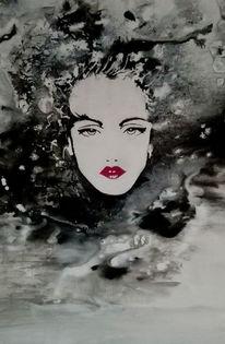 Schwarz weiß, Acrylmalerei, Dame, Malerei