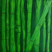 Grün, Bambus, Malerei, Abstrakt