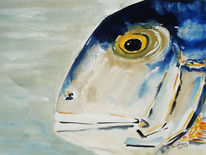 Fisch, Stillleben, Aquarell, Kopf