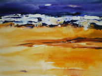 Meer, Landschaft, Aquarell, Welle