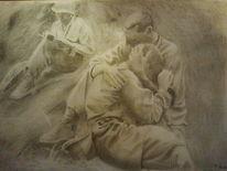 Bleistiftzeichnung, Krieg, Zeichnung, Furcht