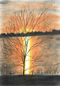 Baum, Pastellmalerei, See, Dämmerung