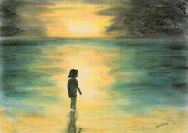 Dämmerung, See pastell zeichnung, Strand, Sonne