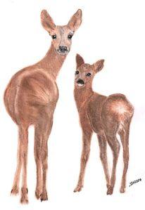 Tiere, Zeichnung, Pastellmalerei, Reh