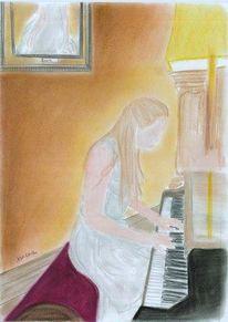 Mädchen, Musik, Pastellmalerei, Menschen