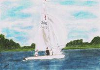 Landschaft, Spiegelung, Wasser, Segelboot