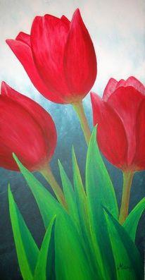 Blumen, Acrylmalerei, Tulpen, Malerei