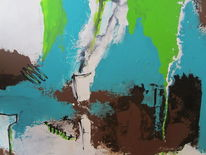 Abstrakt, Braun, Grün, Malerei