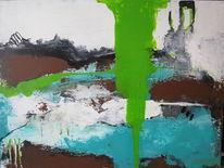Braun, Abstrakt, Grün, Malerei