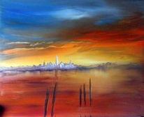 Romatisch, Landschaft, Sonnenuntergang, Abend