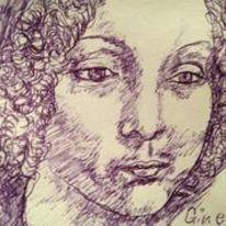 Kuli, Tusche auf papier, Portrait, Malerei