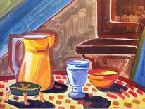 Malerei, Stillleben, Becher, Kanne