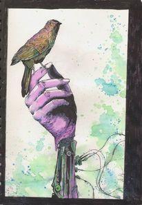 Vogel, Hand, Kabel, Zeichnungen