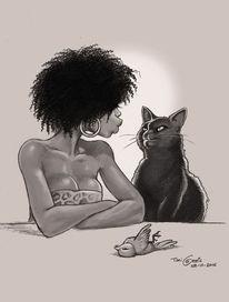 Frau, Katze, Vogel, Geschenk