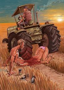 Traktor, Kornfeld, Blowjob, Feld