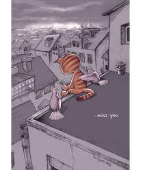 Katze, Taube, Dach, Zeichnungen