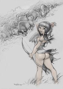 Büffel, Bogen, Zeichnungen,