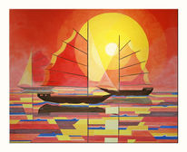 Segelschiff, Sonnenuntergang, Segelboot, Malerei