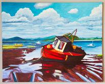 Acrylmalerei, Strand, Fischerboot, Landschaft