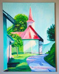 Landschaft, Kirche, Gebäude, Acrylmalerei