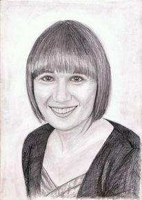 Lachen, Frau, Portrait, Bleistiftzeichnung