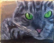 Katzenaugen, Grüne augen, Katze, Malerei
