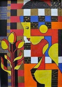 Valtentinstag, Blumen, Geschenk, Malerei