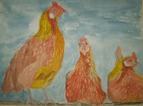 Tiere, Huhn, Bunt, Apell