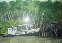 Amazonas, Schiff, Urwald, Malerei