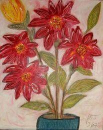 Rot, Blumen, Vase, Strauß