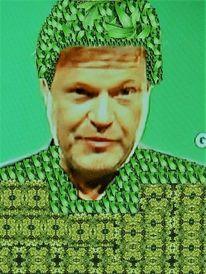 Grün, Mann, Farben, Gesicht
