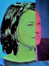 Mann, Portrait, Grünrot, Frau