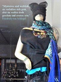 Weiblich, Schaufenster, Zitat, Mode